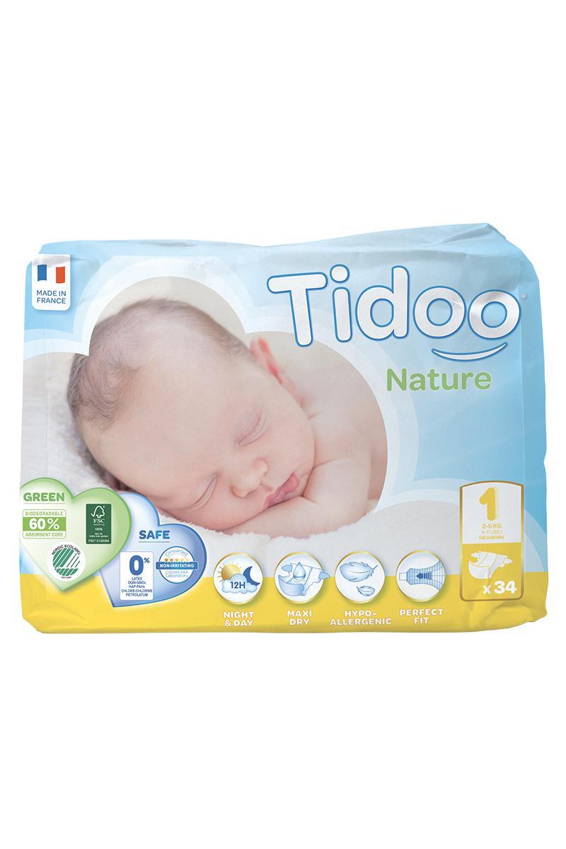 TIDOO Dětské plenky T1 - NEWBORN - 2/5kg (34ks)