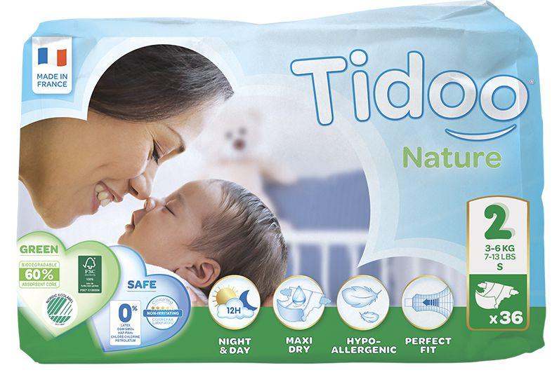 TIDOO Dětské plenky T2 - MINI - 3/6kg (36ks)