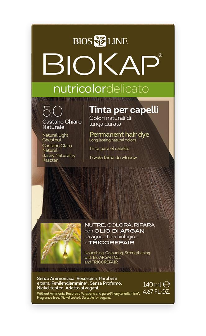 BIOKAP NUTRICOLOR DELICATO - Barva na vlasy - 5.0 Kaštanová přírodní světlá 140 ml