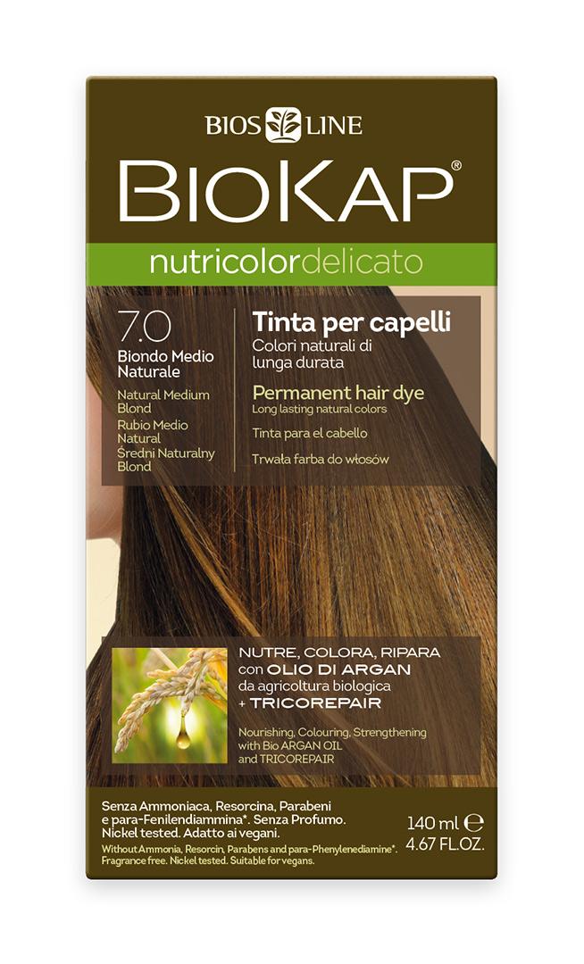 BIOKAP NUTRICOLOR DELICATO - Barva na vlasy - 7.0 Blond přírodní střední 140 ml