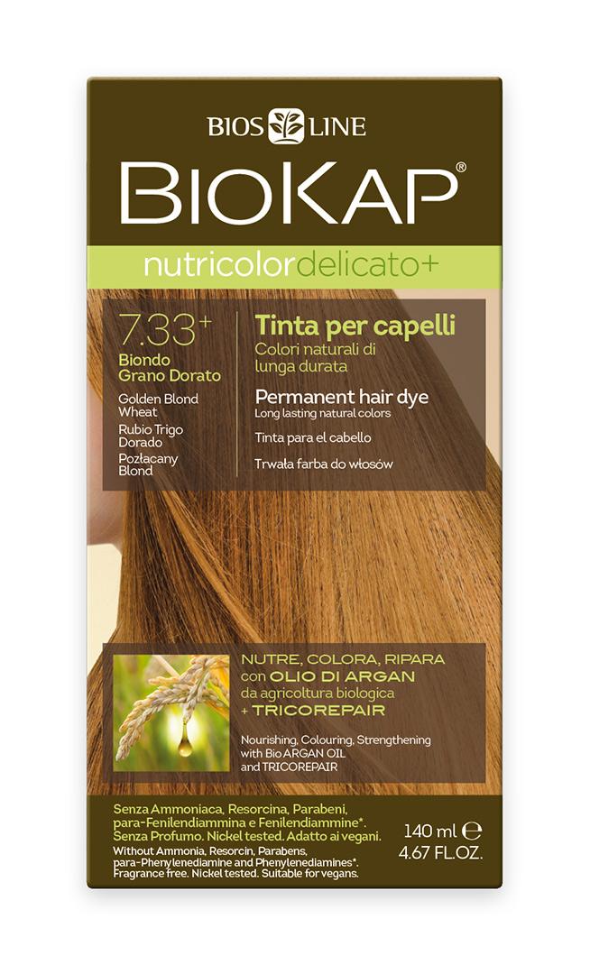 BIOKAP NUTRICOLOR EXTRA DELICATO+ Barva na vlasy - 7.33 Blond Zlatá pšenice 140 ml
