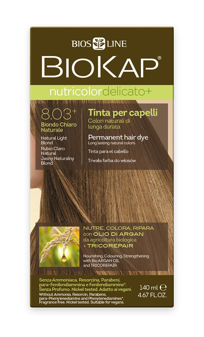 BIOKAP NUTRICOLOR EXTRA DELICATO+ Barva na vlasy - 8.03 Blond přírodní světlá 140 ml